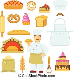 Bakery Decorative Flat Icons Set - Bakery decorative flat...
