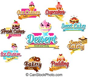 Bakery dessert, pastry and ice cream symbol set. Cake,...