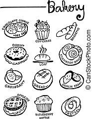 Bakery Doodles Hand Drawn vector