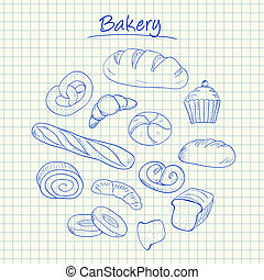 Bakery doodles - squared paper - Illustration of bakery ink...