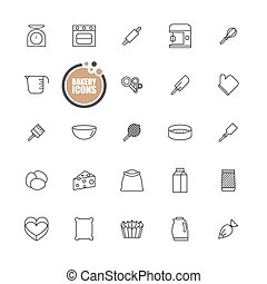 Bakery equipment icons line set