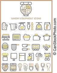 Bakery equipment icons set