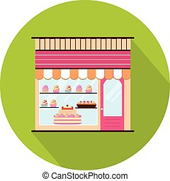 Bakery facade view - Bakery facade icon. Storefront view....