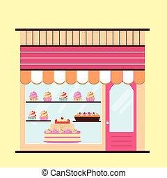 Bakery facade view - Bakery facade. Storefront view....