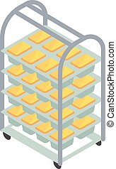 Bakery factory bread cart icon. Isometric of bakery factory bread cart vector icon for web design isolated on white background