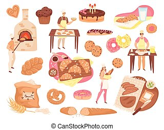 Bakery food, pastry and products set of isolated vector illustrations. Bakers, fresh bread loafs, pies, cakes, flour and baking stove icons.