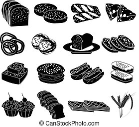 Bakery foods icons set
