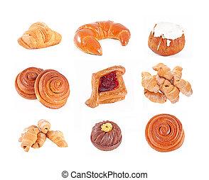Bakery foodstuffs set on a white background