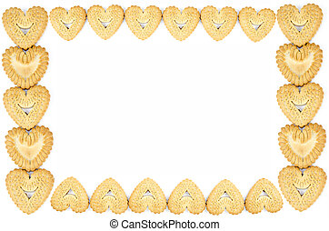 Frame made of heart shaped biscuits