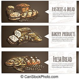 Bakery fresh bread and pastries poster