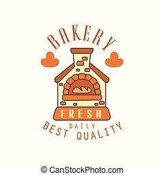 Bakery fresh, daily best quality logo template, bread shop badge retro food label design vector Illustration