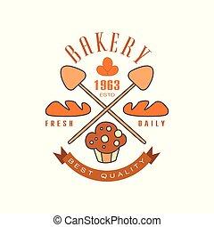 Bakery, fresh daily, best quality logo template, estd 1963, bread shop badge retro food label design vector Illustration