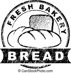Bakery goods design into decorative round frame in grunge rubber stamp style.