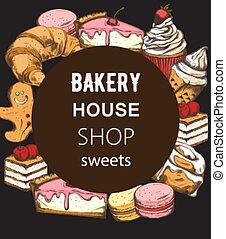 Bakery house shop menu template with various sweets. Croissant, cake, cupcake, macaron. Place for text. Line art colorful vectors