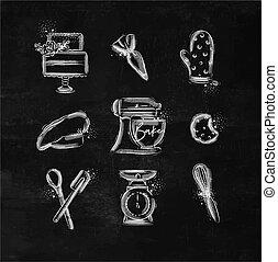 Bakery icons chalk