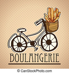 Bakery Icons - Delivery Service, of french bread (...