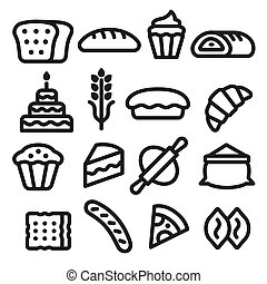 illustration of the bakery and bread black color icons