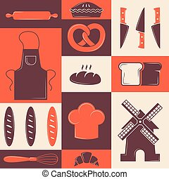 Bakery icons in colorful collage, vector illustration. Set of stickers for bakehouse products, decorative wall poster with culinary symbols. Bakeshop packaging print