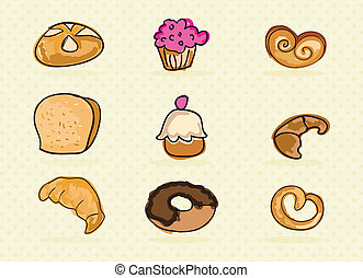 Bakery Icons on beige background ( colletion set). Vector...