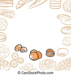Bakery icons on vintage background