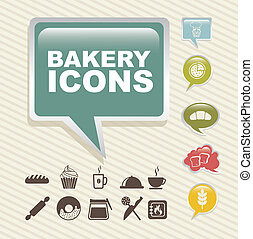 bakery icons over vintage background. vector illustration