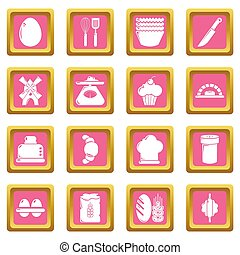 Bakery icons set pink square