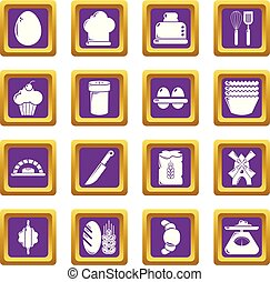 Bakery icons set purple square vector