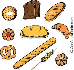 Bakery icons with bread and pastry