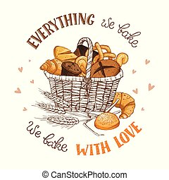 bakery illustration with text - Bamboo basket full of bread...