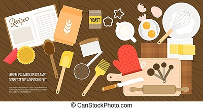bakery ingredient and utensils in top view such as eggs, milk jug, wheat flour, whisk, measuring spoon on wooden background, flat design vector for banner or poster
