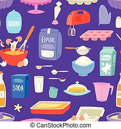 Bakery ingredients vector food and kitchenware for baking cake set of eggs flour and milk for dough illustration of cooking cupcake or pie with cookware in kitchen seamless pattern background