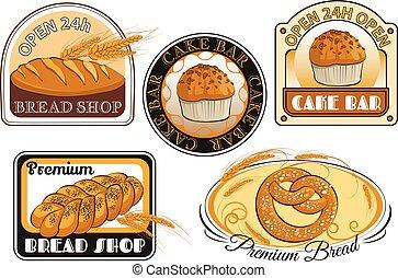 Bakery label set. Elements for your design.