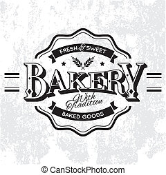 Bakery Label - Vintage Vector Bakery Monoprint Label on...
