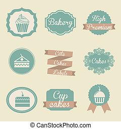 bakery labels over beige background. vector illutration