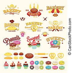Bakery labels, logos and design elements