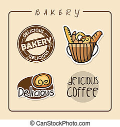 bakery labels over pink background vector illustration