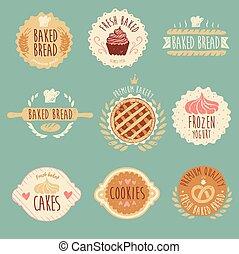 Bakery Labels Set, Bread, Vintage Illustration