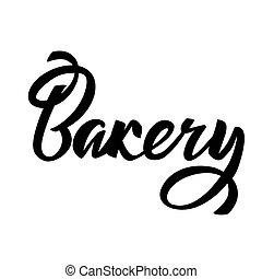 Bakery lettering typography. Ideal for Sweet Cake bakery logotype design, icon, card, postcard, logo banner. Vector handwritten illustration