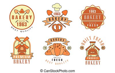 Bakery Logo Design Collection, Fresh Bread Best Quality Vector Illustration on White Background