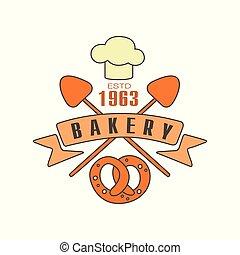 Bakery logo template, estd 1963, bread shop badge retro food label design vector Illustration