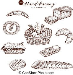 Bakery Monochrome Hand Drawn Set