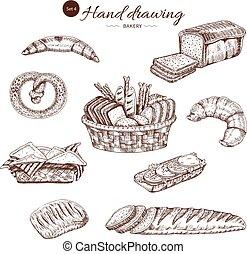 Bakery Monochrome Hand Drawn Set
