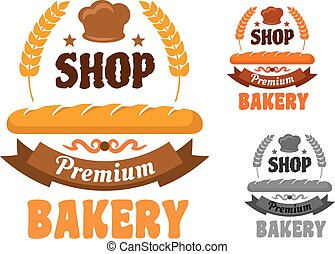 Bakery or pastry shop icon with baguette - Premium bakery or...