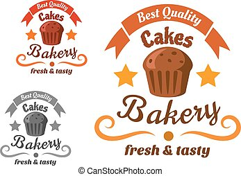 Bakery or pastry shop sign with chocolate cake