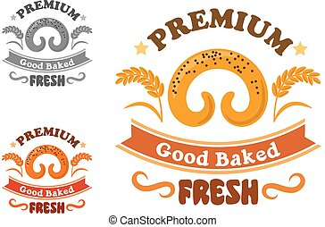 Bakery or pastry shop sign with sweet bun - Bakery or pastry...