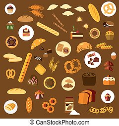 Bakery, pastry and confectionery flat icons