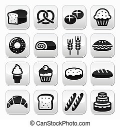 Bakery, pastry buttons set - bread - Vector grey square...