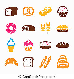 Bakery, pastry icon set