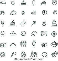 Bakery, pastry icons set - bread, donut, cake