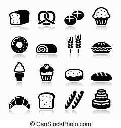 Bakery, pastry icons set - bread - Vector icons set isolated...